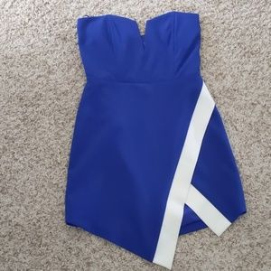 Michelle Mason wrap, strapless dress